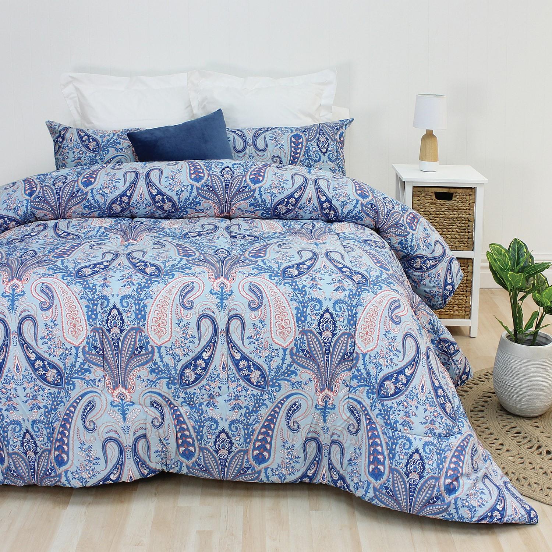 comforter set brown cream paisley comforters bedding blue and