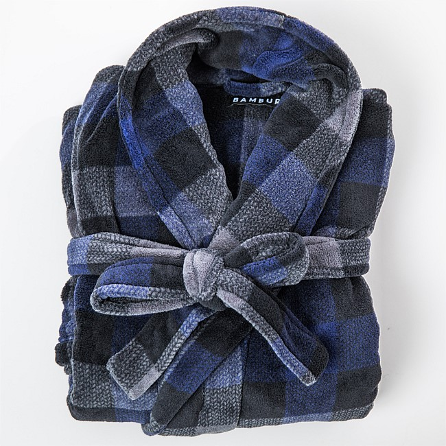 Bambury Mens Check Microplush Bathrobe