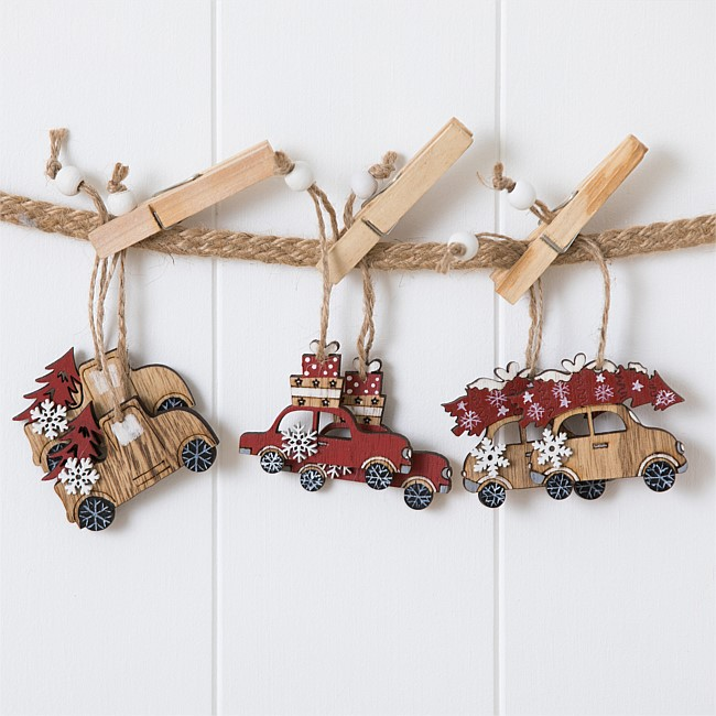 Christmas Wishes Set of 6 Wooden Christmas Cars