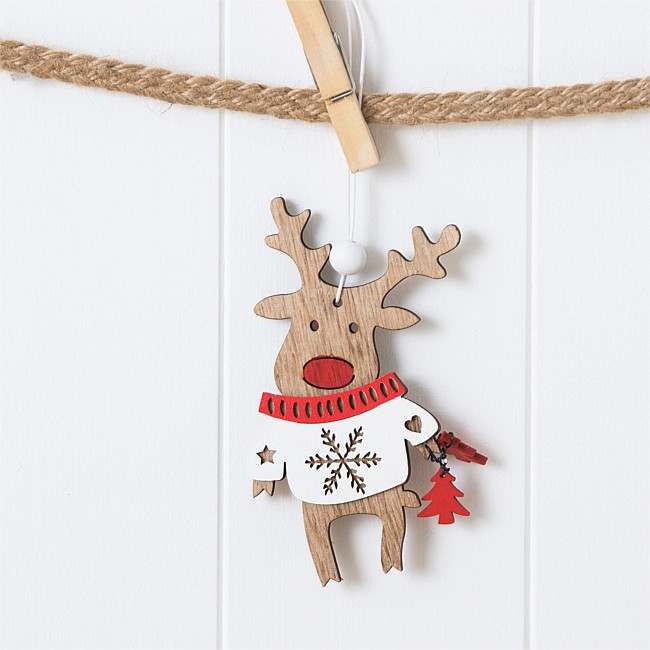 Christmas Wishes Wooden Deer Hanging Tree White