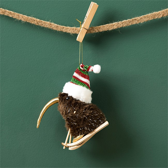 Christmas Wishes Kiwi Bird Hanging On Skiis