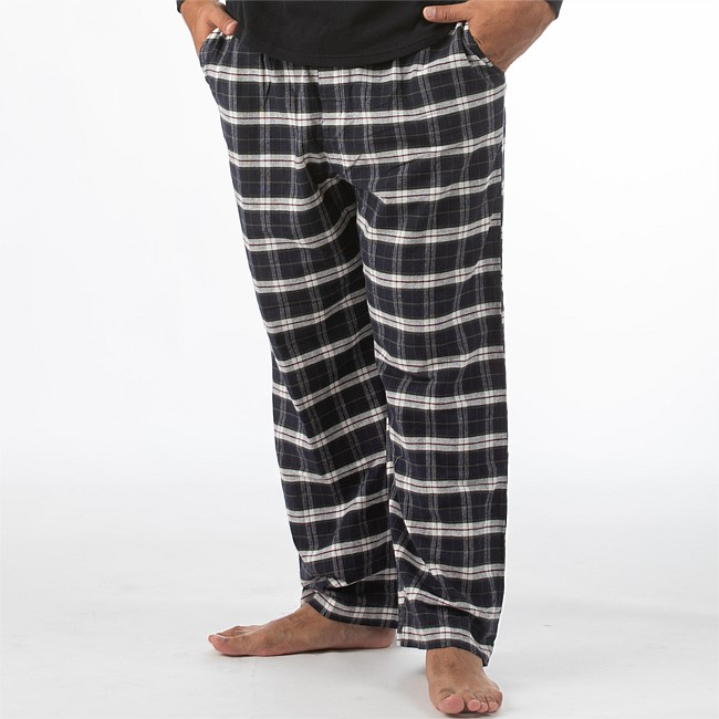 bb&b Sleep Mens Black Flannelette Check Pants
