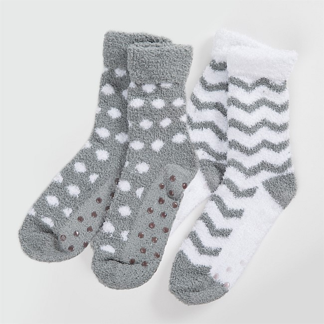 Chevron & Spot 2pk Grey Bed Socks