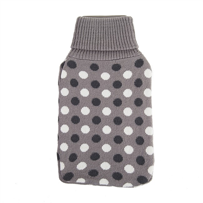 Hush Knitted Polka Dot Hot Water Bottle Cover