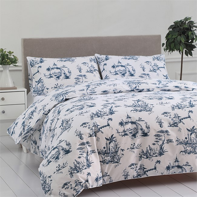 Into Home Riverside Toile Navy Print Duvet Cover Set