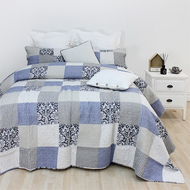 Flourish Cornflower Coverlet Set