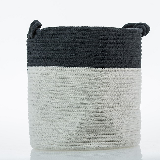Charcoal Cotton Stripe Laundry Hamper