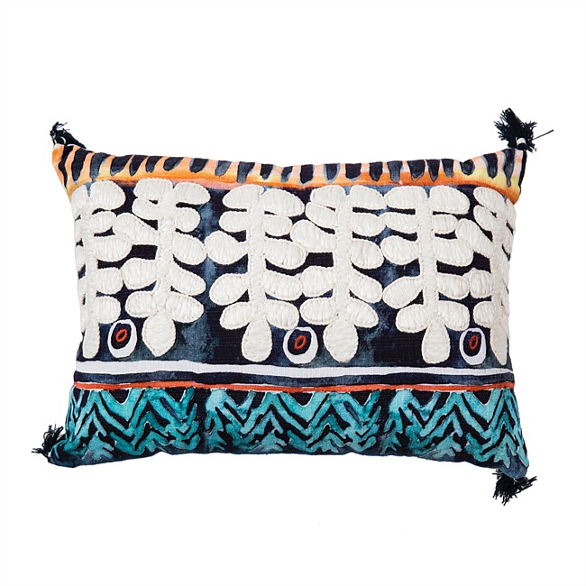 Design Republique Gracious Print Embroidered Cushion