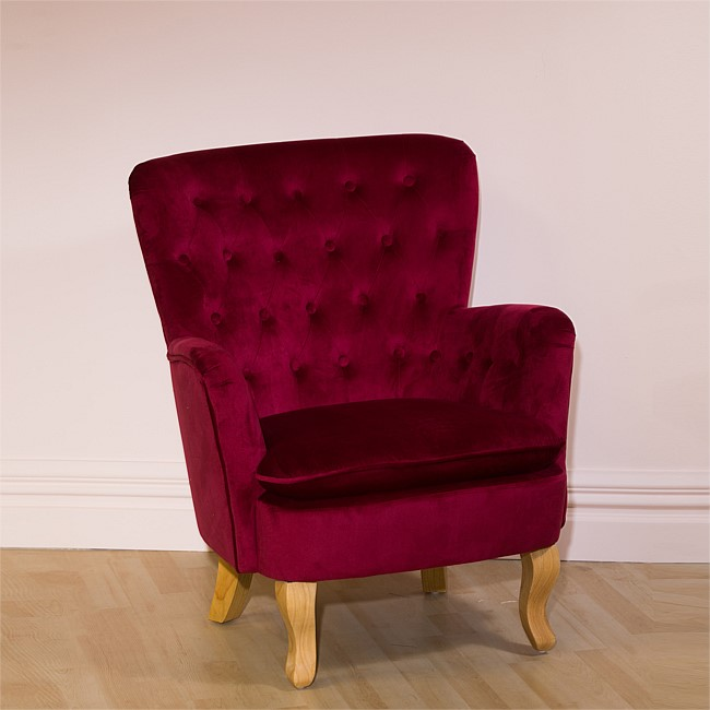 Design Republique Louisiana Tufted Velvet Chair Cerise