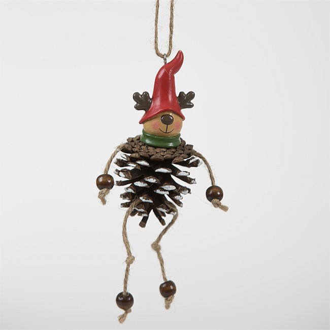 Christmas Wishes Pinecone Hanging Reindeer