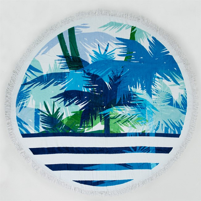 Seaside Supplies Round Stripe Palm Beach Towel