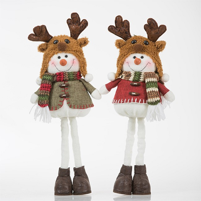 Christmas Wishes Moose Hat Snowmen Extendable Legs