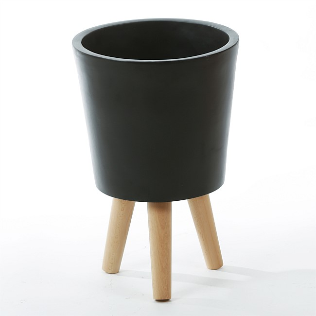Design Republique Black Large Planter on Stand