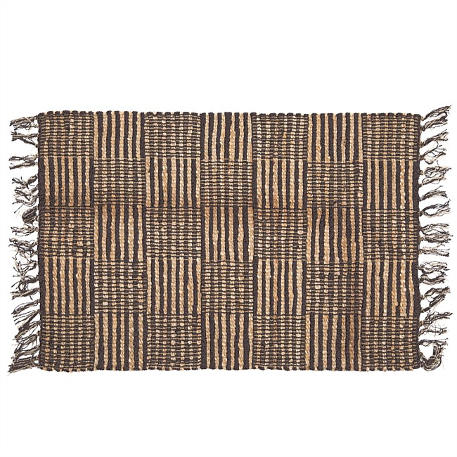 Solace Checkered Jute Rug Charcoal