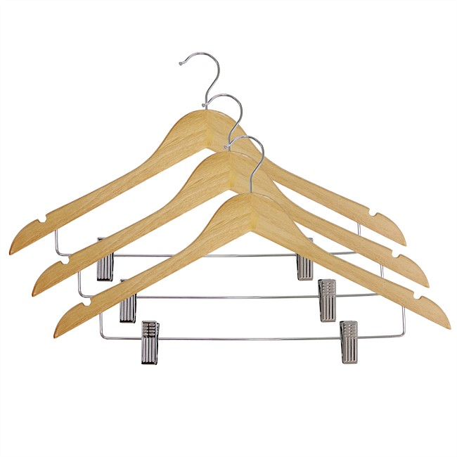 Wooden 3pk Hanger with Clips