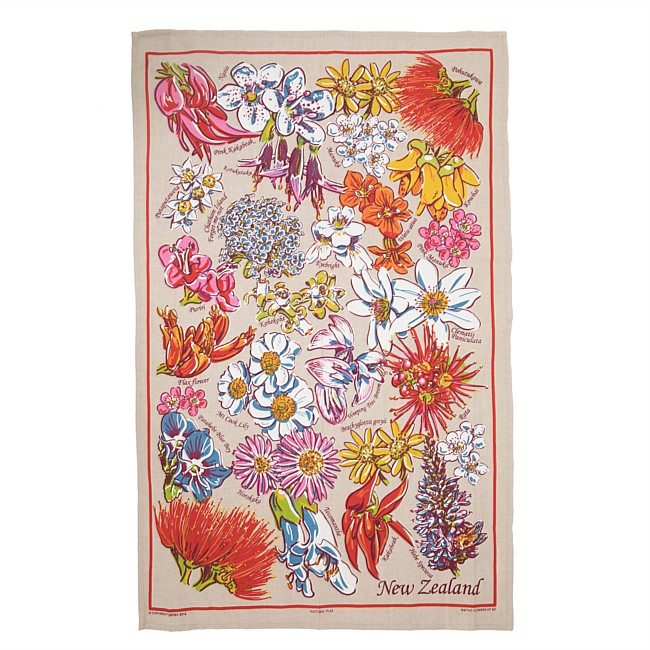 Native Flowers Natural Flax Tea towel