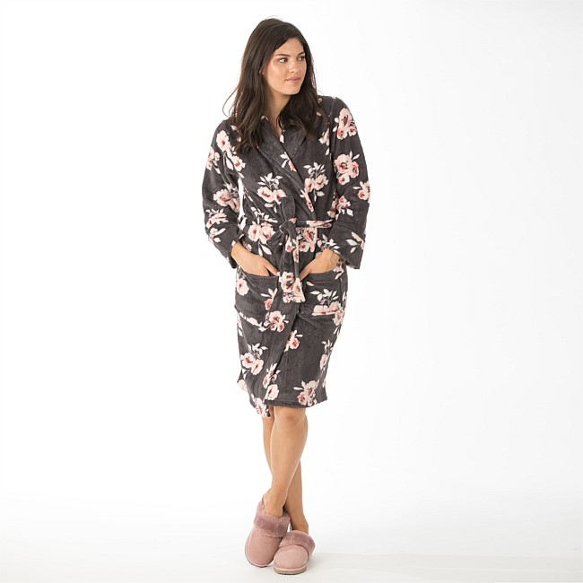 Home Essential Knee Length Microplushlsh Floral Robes