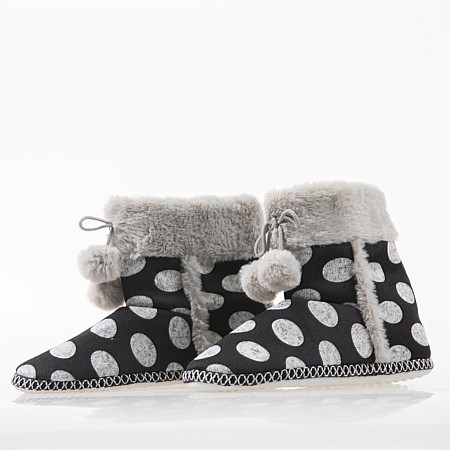bb&b Sleep Polkadot Faux Fur Slipper Boot
