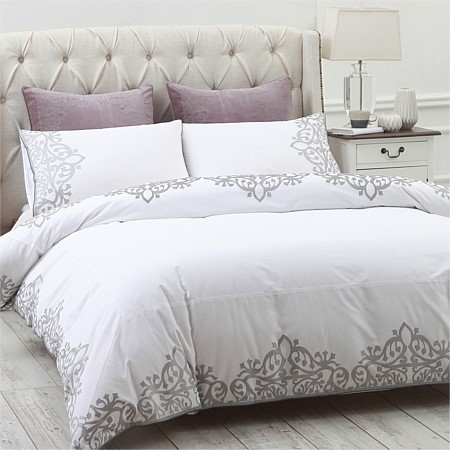 Trellis Embroidered Duvet Cover Set