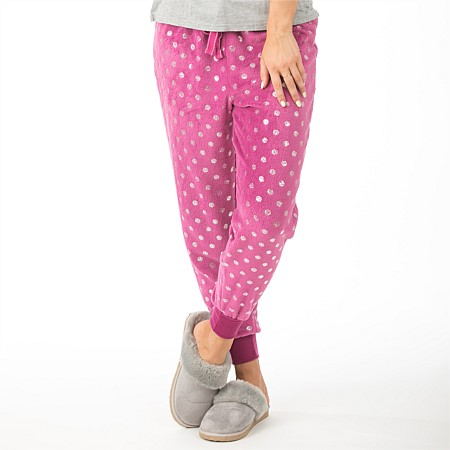 bb&b Sleep Metallic Spot Cuff Fleece Pants