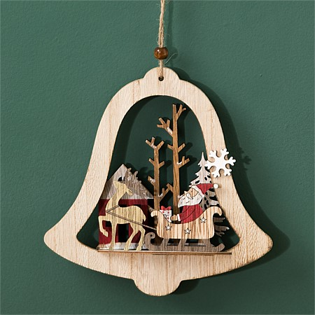 Christmas Wishes Wooden Santa & Deer in Bell
