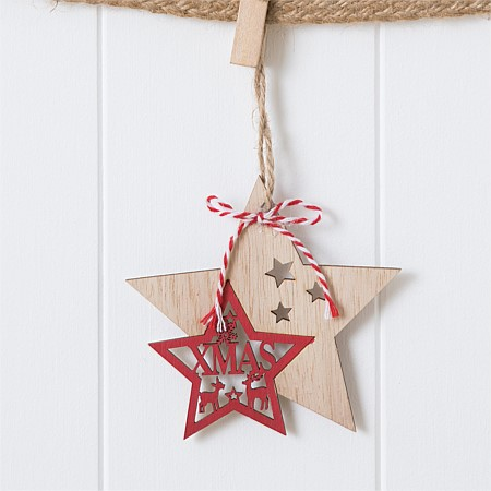 Christmas Wishes Wooden Cut Out Double Star Hanging