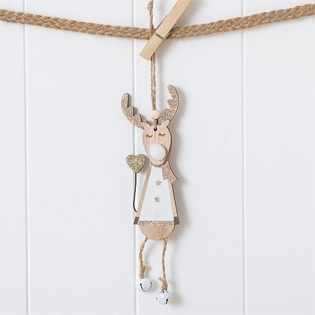 Christmas Wishes Gold Deer Holding Heart Bell Feet