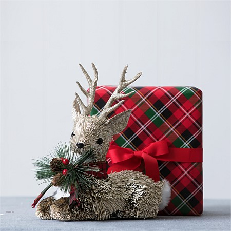 Christmas Wishes Lying Glisten Reindeer With Scarf