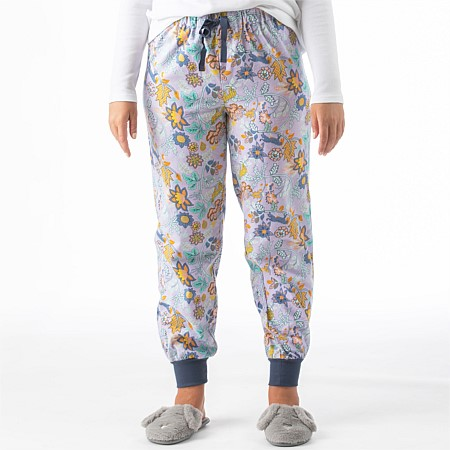 bb&b Sleep Women's Floral Jungle Cuff Pj Pant