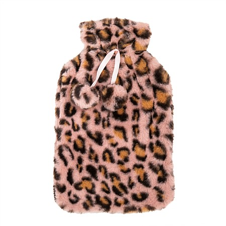 Hot Water Bottle Cover Faux Fur Animal Pink