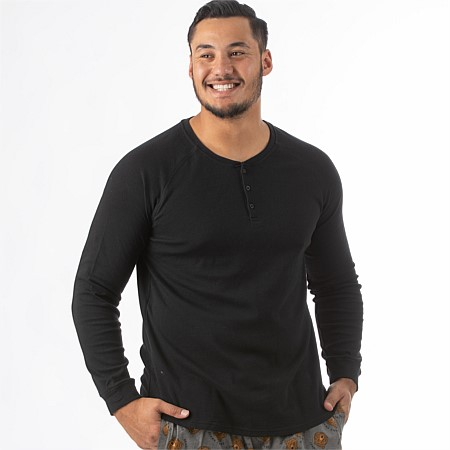 bb&b Sleep Mens Black Relaxed Waffle Top