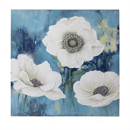 Solace White On Blue Sanderson Wall Art