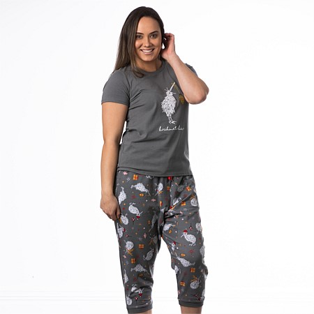 Christmas Wishes Womens kirihimete Kiwi Tee & 3/4 Pant Set