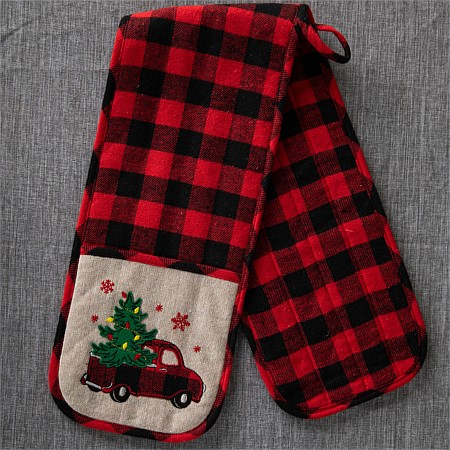 Christmas Wishes Tartan Truck Double Glove