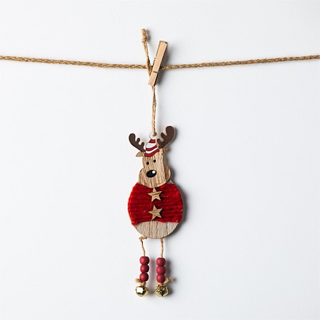 Christmas Wishes Wooden Red Reindeer With Beaded Legs