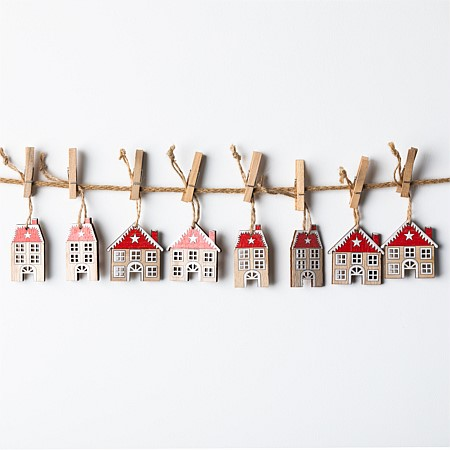 Christmas Wishes Set Of 8 Wooden Houses Hanging