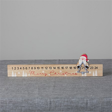 Christmas Wishes Wooden Advent Calendar - with Santa