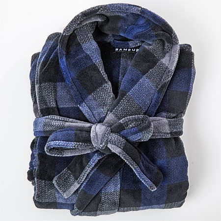 Bambury Mens Check Microplush Bathrobe Navy