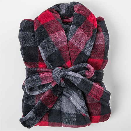 Bambury Mens Check Microplush Bathrobe Red