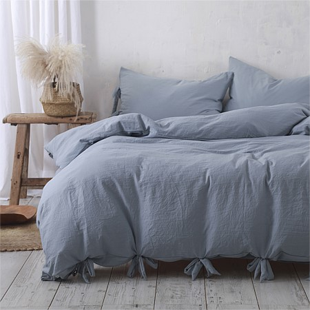 Into Home Bow Trim Microfibre Duvet Cover Set