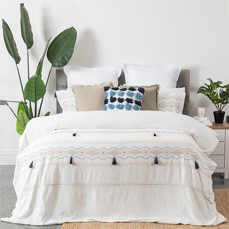 Design Republique Reece Polycotton Embroidered Duvet Cover Set