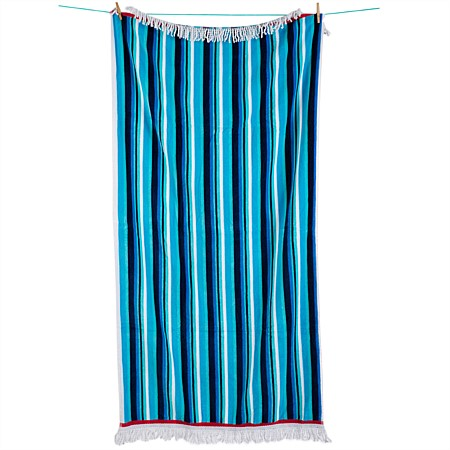 Aqua Stripe Fringed Beach Towel