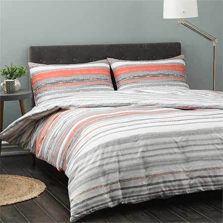 Home Co. Lakeside Coral Stripe Duvet Cover Set