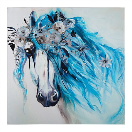 Solace Blue Haired Horse Wall Art