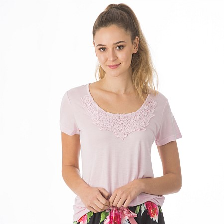 BBB Sleep Pink Top with Lace Trim