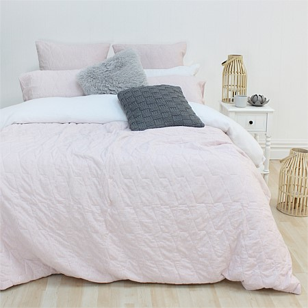 Design Republique Marle Jersey Quilted Pink Duvet Cover Set & Euro Pillowcase
