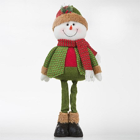 Christmas Wishes Red & Green Standing Extendable Leg Snowman