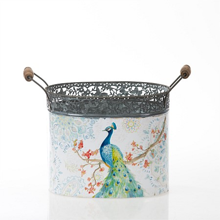 Flourish Magnolia Peacock Small Metal Bucket