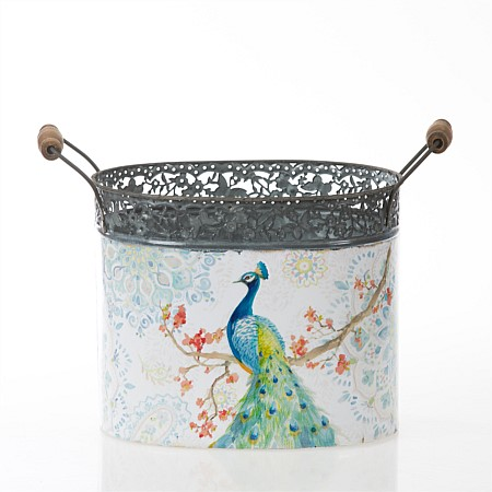 Flourish Magnolia Peacock Large Metal Bucket