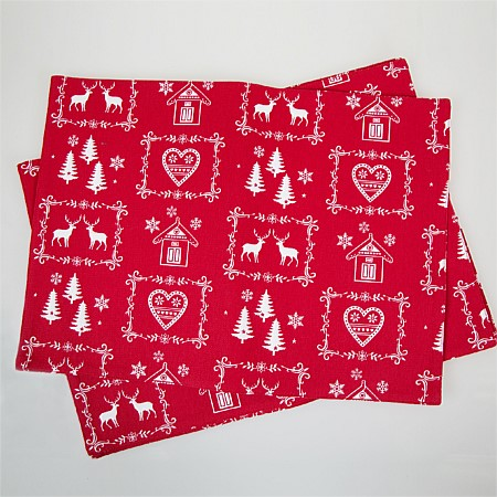 Christmas Heart 4Pc Placemat Set